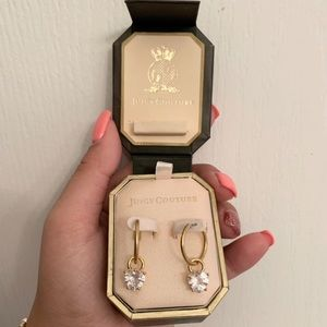 Juicy Couture Gold Hoop Earrings with Heart Charm